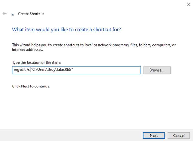 Đặt tên cho file shortcut.
