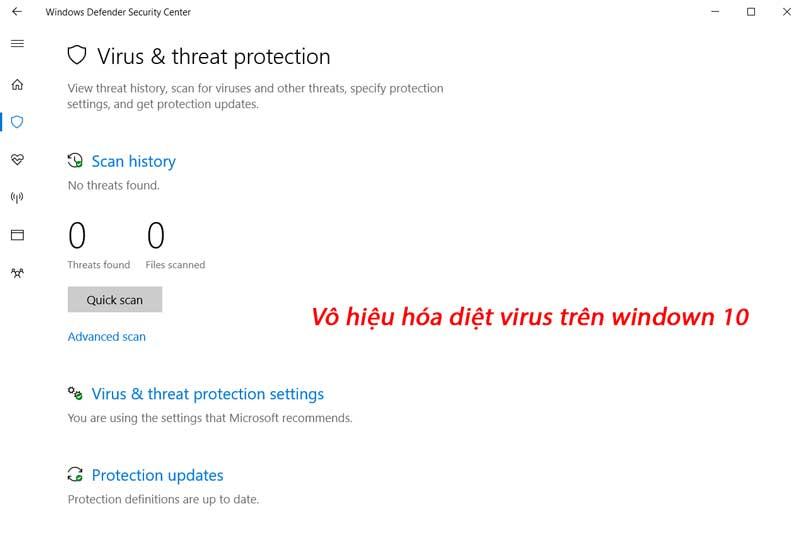 Hướng dẫn tắt diệt virus trên win 10